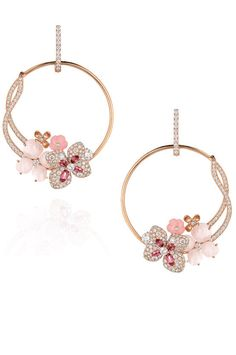 {Jewel Worthy} Chaumet Hortensia earrings with opals, tourmalines and diamonds Blossoming pink gold hoop earrings from the Hortensia fine jewellery collection by Chaumet. These delicate and feminine...