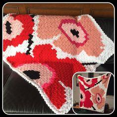 A lap blanket for a special friend. Created in corner to corner crochet; inspired by Marimekko designs. C2c Crochet Blanket, Lap Blanket, Crochet Quilt, Tapestry Crochet, Crochet Chart, Filet Crochet, Crochet Hooks, Knit Crochet, Knitting Patterns