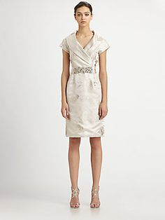 Teri Jon Shawl Collar Jacquard Dress - Saks - like these shawl collars=neck-elongators!