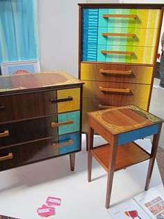 UK designer Mary Middleton's post about visiting TENT London and Origin #LDF11 - this image is Zoe Murphy's reworked midcentury furniture #upcycling