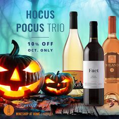 Hocus pocus all October long with this fun mix of haunting wines: Adagio Minuet, Fact Blush and the orange-colored Milano Cellars Rosé of Sangiovese. Ask me for info! http://wsah.life/xvv86