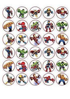 30 Super Hero Squad Comestíveis De Papel Cupcake Cup Cake Decoração da Imagem