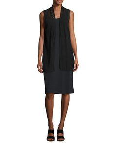 Cotton+Lace+Vest,+Black,+Plus+Size++and+Matching+Items+by+Joan+Vass+at+Neiman+Marcus.