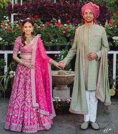 Yash Dongre and Benaisha Kharas Dongre wedding pictures. Pink Bridal Lehenga, Indian Bridal Lehenga, Indian Bridal Outfits, Indian Bridal Fashion, Asian Fashion, Couple Wedding Dress, Wedding Wear, Wedding Ties, Gift Wedding