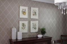 Use a stencil and a paint pen for a $15 wall paper job!