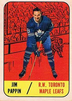 1967-68 Topps #78 Jim Pappin Front Hockey Cards, Baseball Cards, Hockey Pictures, Toronto Maple Leafs, Trading Card Database, Nhl, 1930s, Gallery, Sports