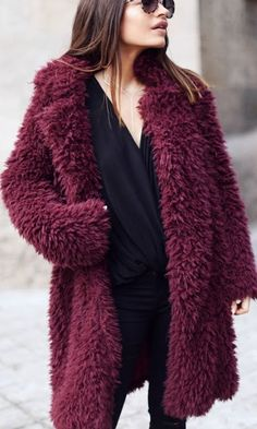 Burgundy sherpa coat.