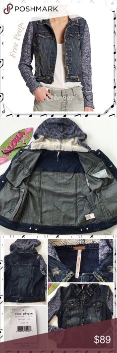 Free People Knit Hooded Denim Jacket Distressed denim jacket with attached knit sleeves and hood (detachable) Button front closure and two front slit pockets. All over roughed look. A cool piece to add a tomboy edge to any look. This season and still on free people website for $148 so save some money and gear up for fall! ⚡️9.18.16 Wardrobe Goals Party host pick by @sarrafabulous ❌ trades ❌ lowballs 👍offer button  🌟Bundle 2 or more items and save 10%🌟 Free People Jackets & Coats Jean…