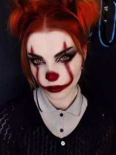 Halloween pennywise makeup look! Creepy Halloween Makeup, Maquillage Halloween Clown, Looks Halloween, Creepy Makeup, Amazing Halloween Makeup, Halloween Eyes, Clown Makeup, Spirit Halloween, Face Makeup