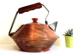French Vintage Copper Brass And Bakelite Teapot/ Vintage Copper Teapot With Bakelite Handle/Arts And Crats Teapot/Art Deco Teapot by SouvenirsdeVoyages on Etsy