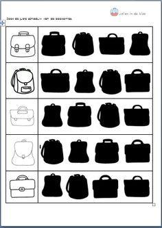 Zoek de juiste schaduw van de boekentas. 3de kl ( Download op 'Jolien in de…