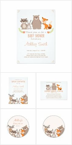 Woodland theme baby shower invitation suite. Features cute woodland animals such as a racoon, bunny rabbit, bear and fox. Light orange font on a white background that is perfect for celebrating the arrival of a baby boy or girl #Ad