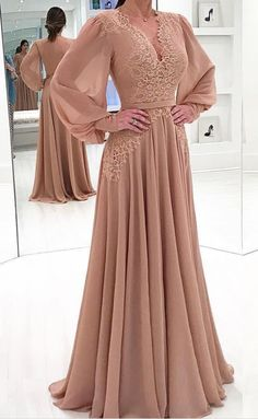 Blush Pink Chiffon Sexy V Neck Evening Dresses