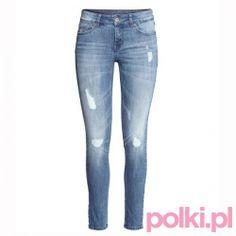 Niebieskie dżinsy z przetarciami, H&M #polkipl #colours #fashion #moda #stylizacje