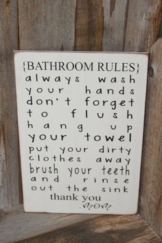 Bathroom Rules Board with Vinyl lettering by invinyl on Etsy, $18.00