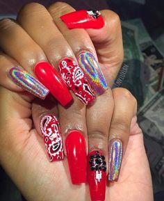 nail tips and tricks Makeup Mistakes Sexy Nails, Hot Nails, Hair And Nails, Stylish Nails, Trendy Nails, Bandana Nails, Red Acrylic Nails, Red Nail, Pastel Nails