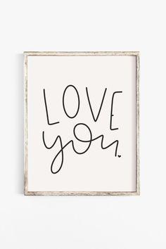 Love You Printable Art - Shop Happies Zen Room Decor, Zen Bathroom Decor, Living Room Decor On A Budget, Boho Chic Living Room, Boho Chic Bedroom, Printable Wall Art, Printable Paper, Love You, Quote Art