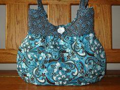 SALE...Purse Handbag Teal Brown Floral Mother's Day by craftcrazy4u, $37.00