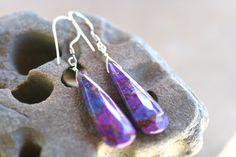 Purple Mojave Turquoise Gemstone Sterling Silver Earrings