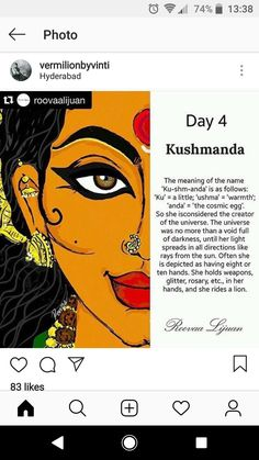 Navratri Day 4 - Dedicated to Goddess Kushmanda Kali Goddess, Indian Goddess, Mother Goddess, Durga Maa, Shiva Shakti, Hindu Festivals, Indian Festivals, Cosmic Egg, Durga Images