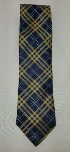 Tommy Hilfiger Neck Tie Blue Yellow Plaid Striped 100% Silk EUC Free Ship #TommyHilfiger #Tie