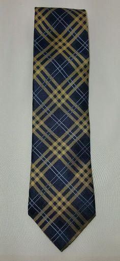 Tommy Hilfiger Neck Tie Blue Yellow Plaid Striped 100% Silk EUC Free Ship #TommyHilfiger #Tie