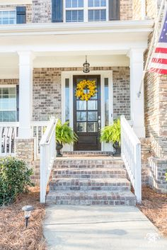 Spring Front Door with Yellow wreath and ferns for spring- front door and porch ideas Front Door Signs, Front Door Decor, Front Porch, Building A Porch, Outdoor Wreaths, House With Porch, Dream House Exterior, Porch Decorating, Decorating Ideas