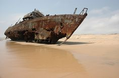 Unidentified wreck of a patrol boat on the coast of Angola