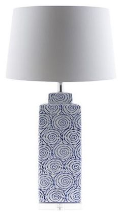 China blue and white ceramic lamp base and classic white shade make up this Dunaway lamp from Surya (DWY-550).