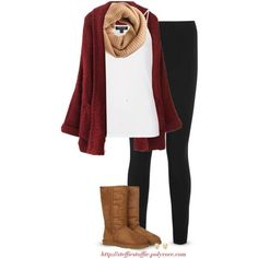 """""""Chunky cardigan, Ugg boots & Leggings"""" by steffiestaffie on Polyvore"""