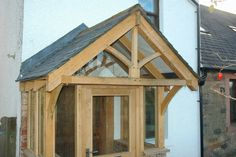 Working with green oak - Jonathan Leech Porch Uk, House With Porch, Glass Porch, Outdoor Kitchen Patio, Farmhouse Front Porches, Front Door Decor, Front Doors, Porch Decorating, Curb Appeal