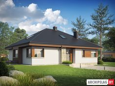 Проекты домов Archipelag: Фло II Modern Bungalow, Good House, Home Fashion, Gazebo, House Plans, Sweet Home, New Homes, Floor Plans, Outdoor Structures