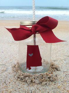 Alabama State Silhouette Roll Tide Personalized Mason Jar Cup w/ Straw
