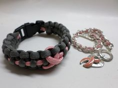 Two Breast Cancer Awareness Bracelets -Woven Cord w Buckle Closure Toggle Clasp