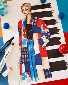 Fashion illustration of woman in colorful coat, Digital file Dress Design Sketches, Fashion Design Sketchbook, Fashion Design Portfolio, Fashion Design Drawings, Fashion Sketches, Art Portfolio, Art Sketchbook, Fashion Collage, Fashion Art
