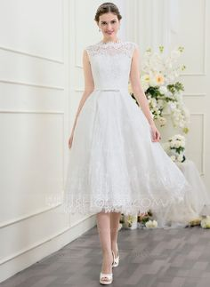 [AU$ 278.00] A-Line/Princess Scoop Neck Tea-Length Lace Wedding Dress With Bow(s) (002095849)