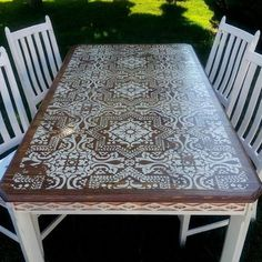 Using a stencil is a wonderfully inexpensive way to dress up a plain table, or…