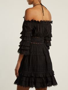 Click here to buy Zimmermann Corsair off-the-shoulder ruffled cotton dress at MATCHESFASHION.COM