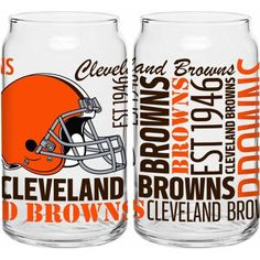 Boelter Brands NFL Set of Two 16 Ounce Spirit Glass Can Set, Cleveland Browns