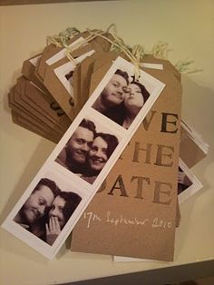 1 of 3: Handmade Save The Date Cards. - A big luggage label hand stamped. Hand written with a white pen, and cute little photo booth pictures for a bit of fun. All finished off with some Divine Twine.