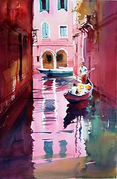 Watercolor by Milind Mulick. A very fine prolific artist whose use of colour deserves serious study. Art Watercolor, Watercolor Landscape, Landscape Art, Landscape Paintings, Venice Painting, City Painting, Oil Painting Abstract, Painting Art, Abstract City