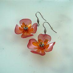 PET náušnice oranžové květy