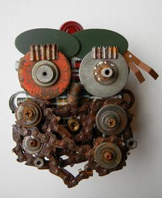 Recycled Art Assemblage  Scot Bot  Original Mixed by redhardwick.  jen-hardwick.com