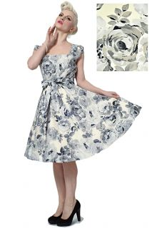 Grey Rose Floral Swing Dress - £50 Made in London. Sizes 8-22.