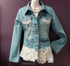 Your place to buy and sell all things handmade Lace Jeans, Denim And Lace, Blue Denim Jeans, Denim Shirt, Crochet Jacket, Lace Jacket, Embellished Jeans, Textiles, Denim Fashion