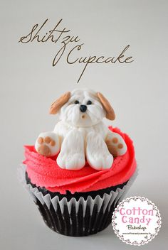 Shihtzu cupcake  #dog #pet #cupcake #fondant