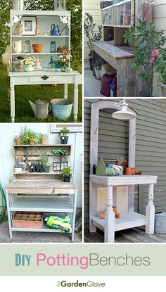 Diy Crafts Ideas : DIY Potting Benches Lots of Ideas & Tutorials! Outdoor Potting Bench, Potting Tables, Garden Crafts, Garden Projects, Home Projects, Diy Crafts, Diy Horta, Potting Station, Potting Sheds