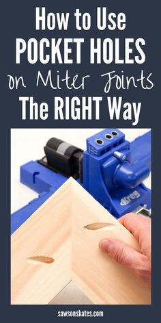 Looking for ideas to make the most of your Kreg Jig? Did you know you can use it to join miters? You can! Many DIY projects like cabinet doors and DIY furniture plans use mitered corners. A pocket hole jig makes it easy to assemble these joints. This tutorial shows three ways to join a miter joint using pocket holes. #diy #diytips #kregjig #pocketholes #miterjoints #woodworking #woodworkingtips #woodworkingtools #diywoodworking