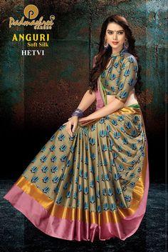 padmashree anguri party wear soft silk saree with handloom cotton print - WholesaleDuniya.com #Whatsapp :96876 92895 #Padmashreee #SoftSilk #Wholesale #Print #Printed #Wholesaleduniya