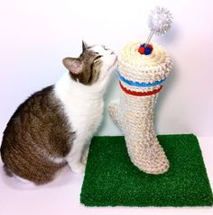 Amazing!!! Cat Scratching Post Foot Athletic Sock Cat by CatInTheBoxCreations, $114.20